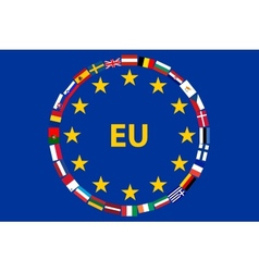 Flag EU with flags of countries vector image