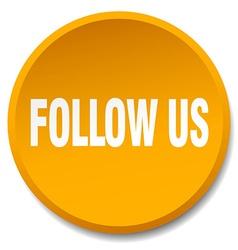 Follow us orange round flat isolated push button vector