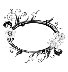 frame with flowers of narcissus vector image vector image