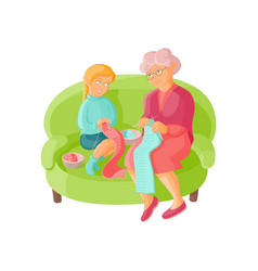 grandmother teaching granddaughter to knit scarf vector image
