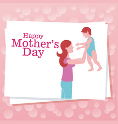 Happy mothers day - mom with son dots background vector