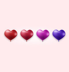 Modern colorful heart balloons set vector