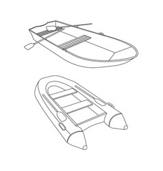 Raft and boat flat icon vector