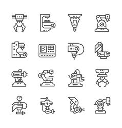 Set line icons of robotic industry vector
