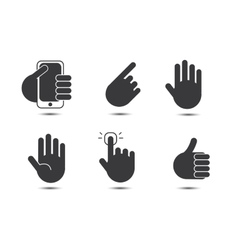 set of black and white hand icons vector image vector image