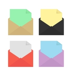 set of four open colored envelopes vector image vector image