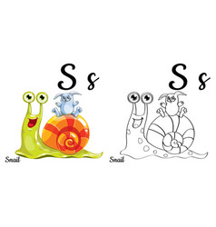 snail alphabet letter s coloring page vector image vector image