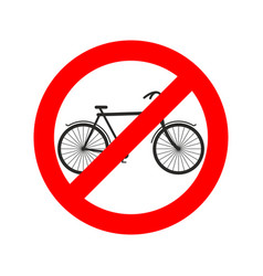stop cyclist bicycle on red ring road sign ban vector image