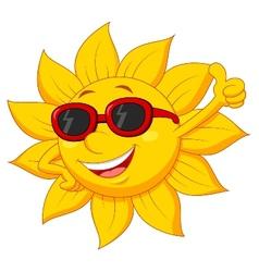 Sun cartoon character with thumb up vector
