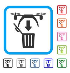trash drone framed icon vector image