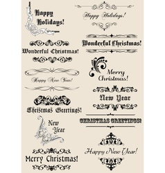 Vintage christmas and new year headers vector