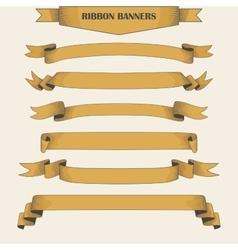 Vintage ribbon banners hand drawn set vector image vector image