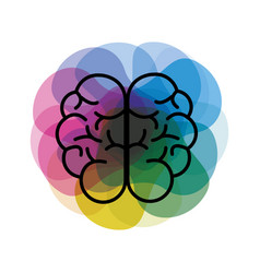 Watercolor mental health brain art icon vector
