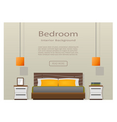 web design banner of modern bedroom interior with vector image
