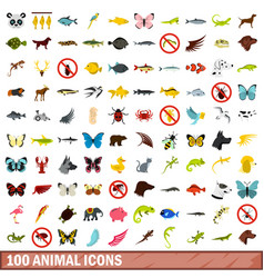 100 animal icons set flat style vector