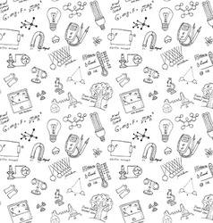 Physics and sciense seamless pattern with sketch vector image