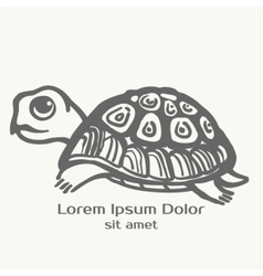 Turtle hand drawn  logo template vector