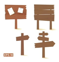 Set of dark wooden signs and billboards vector image