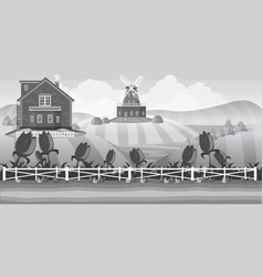 Grey country landscape with field vector
