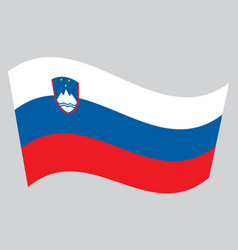 Flag of slovenia waving on gray background vector