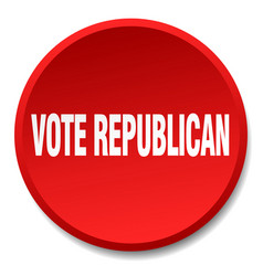 Vote republican red round flat isolated push vector