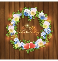 Happy Valentines Day floral greeting card vector image