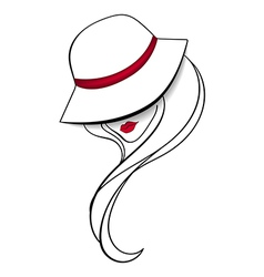 Women in a vintage hat vector