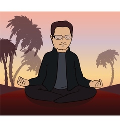 Man meditates in the nature vector