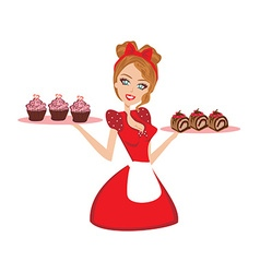 Pin up housewife serving chocolate cupcakes vector