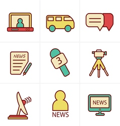 Icons style news reporter icons set vector