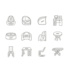 Linear tables and chairs icons collection vector