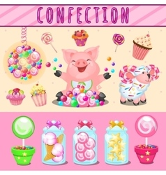 Cheerful pink pig and lots of different sweets vector