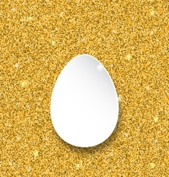 Abstract happy easter paper egg on golden sparkles vector