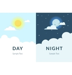 Half day night of sun and moon with clouds vector