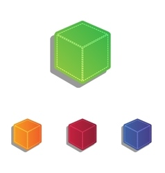 Cube sign  colorfull applique icons vector