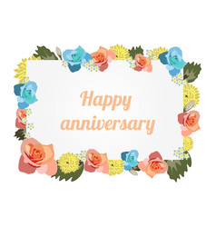 anniversary card banner with flowers vector image