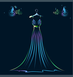 Beautiful shining evening dress silhouette vector