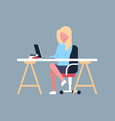 business woman sit at office desk working on vector image