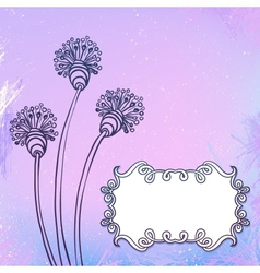 Card with flowers on watercolor vector
