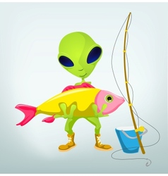Cartoon Fisherman Alien vector image vector image