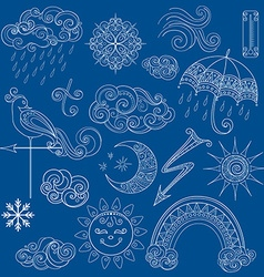 Collection of weather signs in fairytale style vector