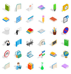College and school icons set isometric style vector