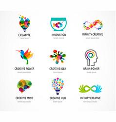 creative digital abstract colorful logos vector image vector image