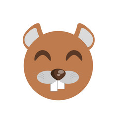 Cute face beaver animal cheerful vector