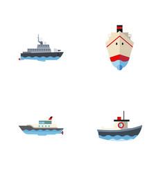 flat icon boat set of sailboat transport vector image