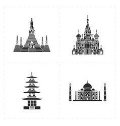 Four flat landmark icons vector