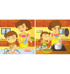 Girl helping mom in the kitchen vector image