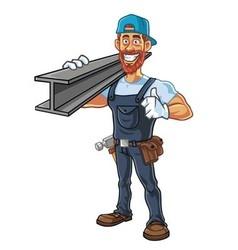 Hipster Repairman Cartoon Character Design vector image vector image