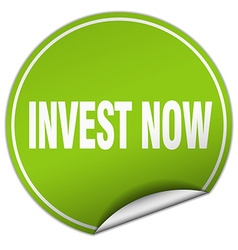Invest now round green sticker isolated on white vector