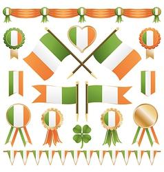 irish flags and ribbons vector image